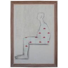 "Monumental Jack Stuck ""Self Portrait with Tattoos"" Oil on Canvas Painting"