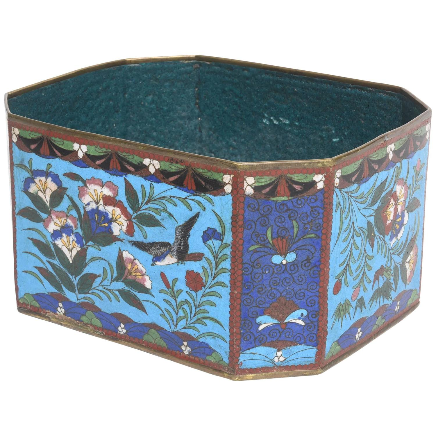 chinese cloisonn octagonal cachepot or box circa 1900. Black Bedroom Furniture Sets. Home Design Ideas
