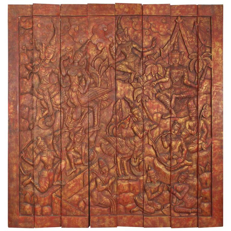 Antique monumental asian hand carved wooden temple panel