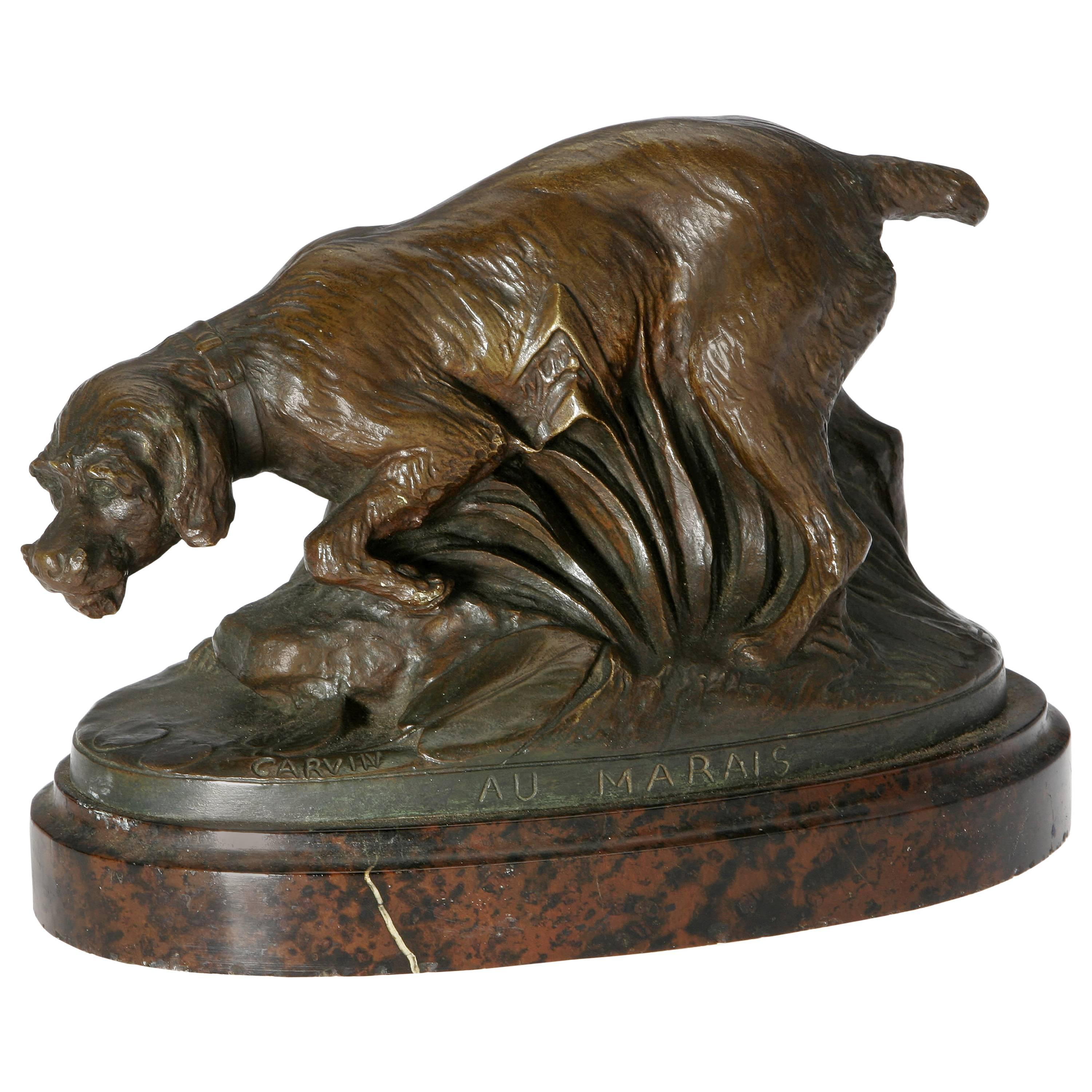 Louis Carvin French Bronze of a Hunting Dog, circa 1920