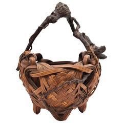 Meiji Period Bamboo Ikebana Basket
