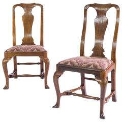 Near Pair of George I Walnut Side Chairs