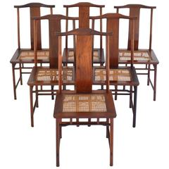 Set of Six Mid-Century High Back Dining Chairs