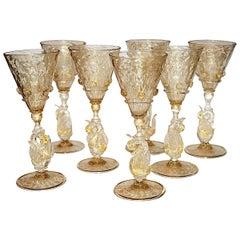 Set of Seven Venetian Glass Liquor Glasses, Stemware Swans Murano