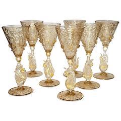 Set of Six Venetian Glass Liquor Glasses, Stemware Swans Murano