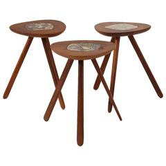 Allen Ditson and Lee Porzio Walnut and Ceramic Side Tables