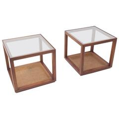 Walnut and Cane Side Tables by Cal Mode