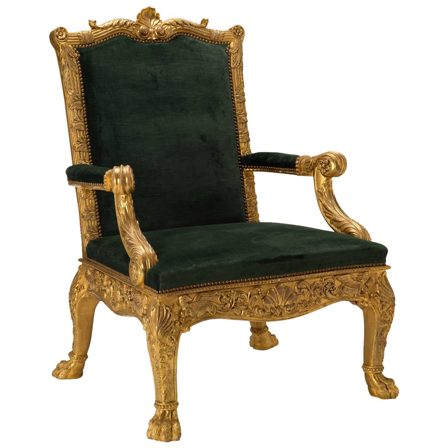 'Dundas' Library Armchairs after a model by Robert Adam and Thomas Chippendale