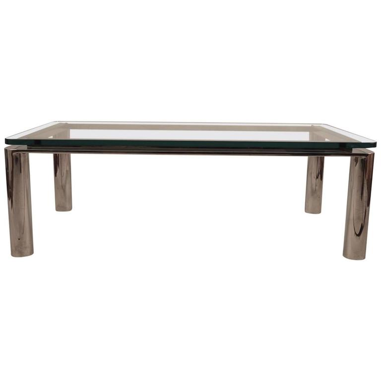 Chrome Base Plate Glass Top Coffee Table