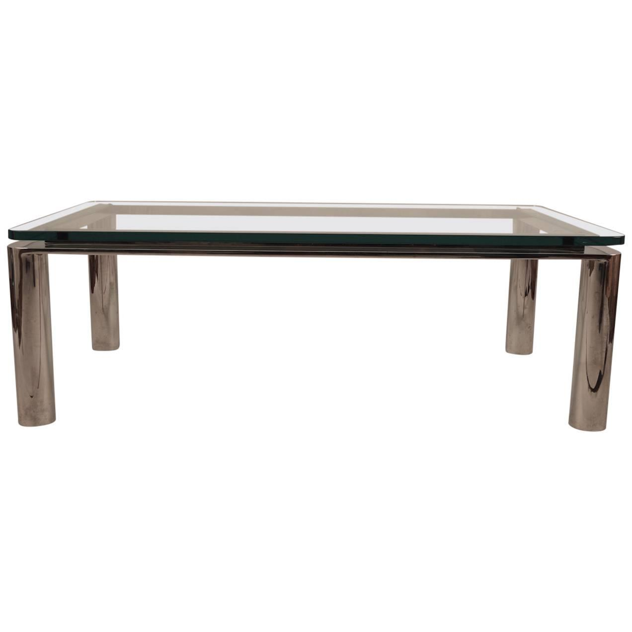 Chrome Base Plate Glass Top Coffee Table For Sale At 1stdibs