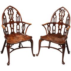 Rare Pair of George II Yew, Elm and Ash Gothic Windsor Armchairs