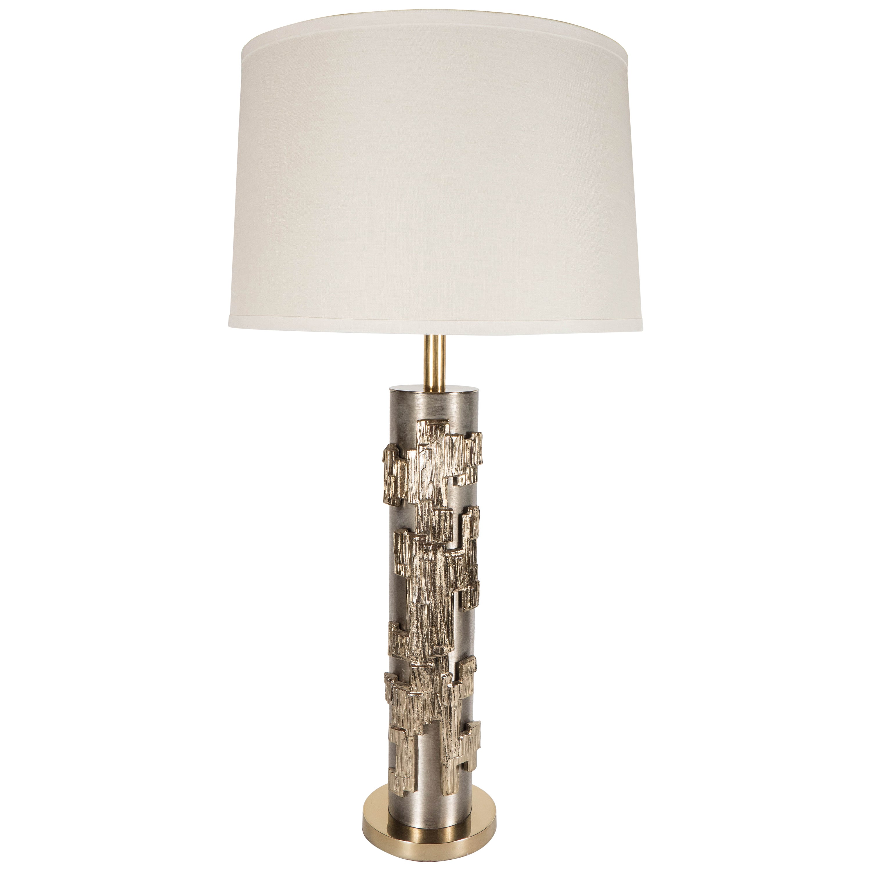 Laurel Lamp Co. Brutalist Brushed Steel Table Lamp w/ Striated Brass Appliqués