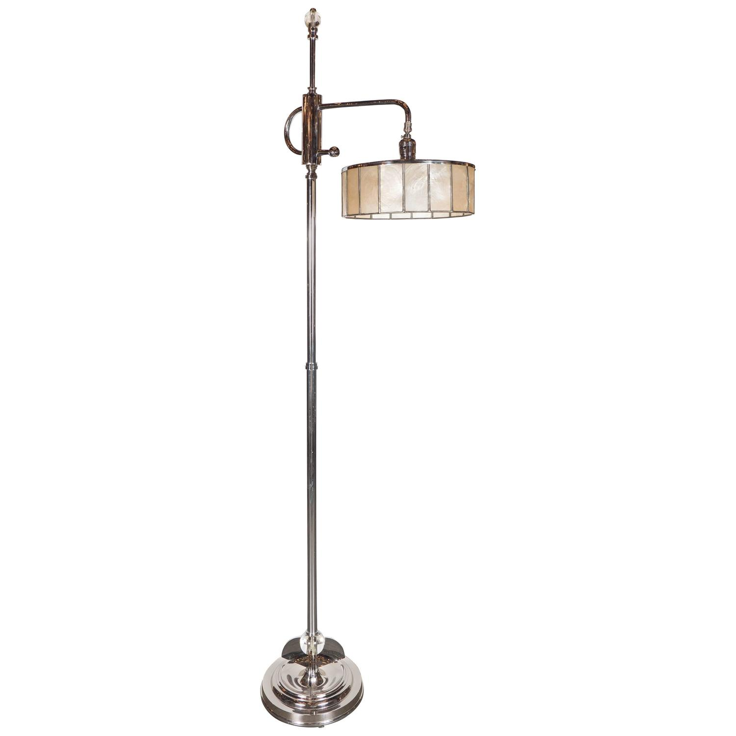 Art deco skyscraper style adjustable floor lamp with shell for Art deco style lamp