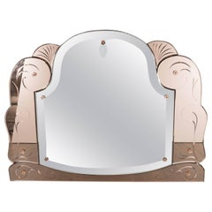 Art Deco Scroll Form Mirror with Copper-Tone Mirror Border