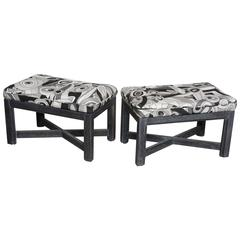 Upholstered Pair of Cerrused Oak X Base Stools  upholstered in Pucci Fabric