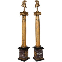 A Fine pair of Antique Russian sienna marble and jasper Helmet Military obelisks
