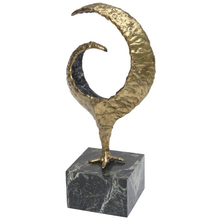 Molten Bronze and Variegated Marble Signed Brutalist Vintage Sculpture