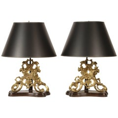 Pair of 19th Century Bronze Chenets Lamps