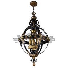 Italian Renaissance Flush Mount Stair Lantern, Eighteen-Light