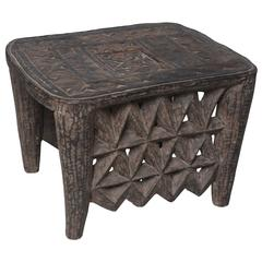 "Stunning Nigerian Entrance or Side Table, Doubling as Jewelry ""Safe"" from Africa"