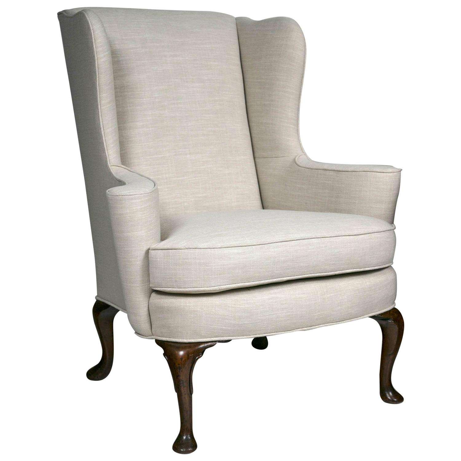 Linen Wing Chair At 1stdibs