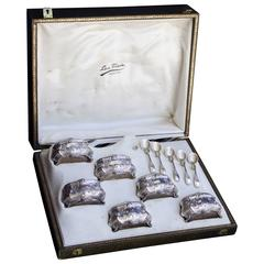 Set of Six French Silver and Crystal Salt Cellars and Spoons