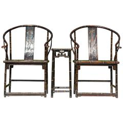 Qing Dynasty U-backed Emperor Armchairs with Matching Table