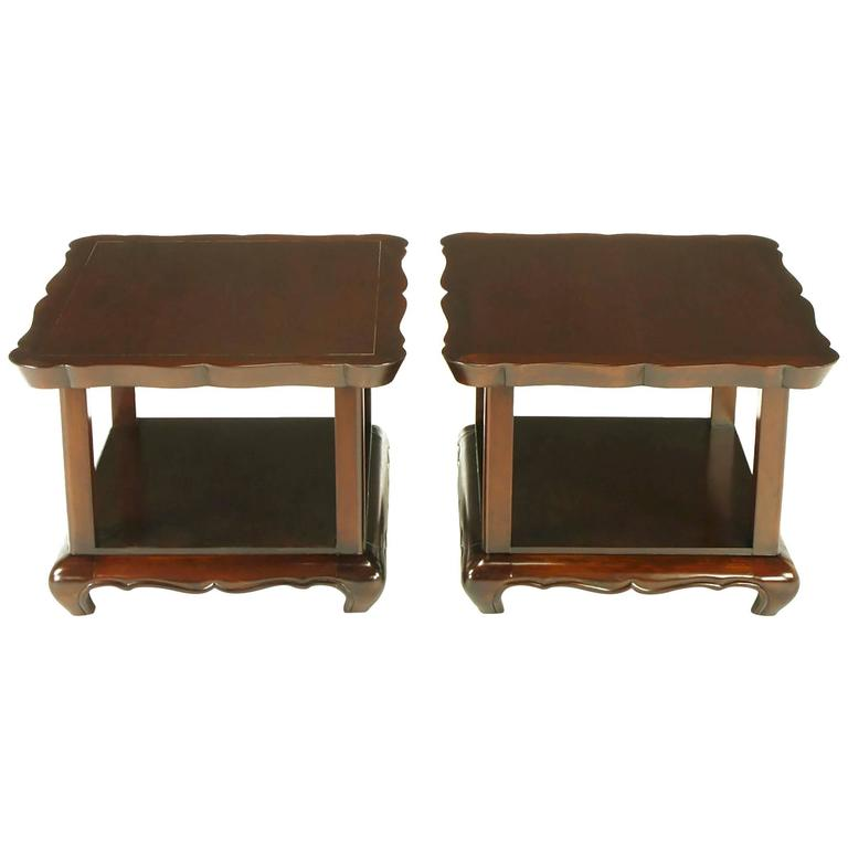 Pair of Walnut End Tables with Scalloped Edge Tops For Sale