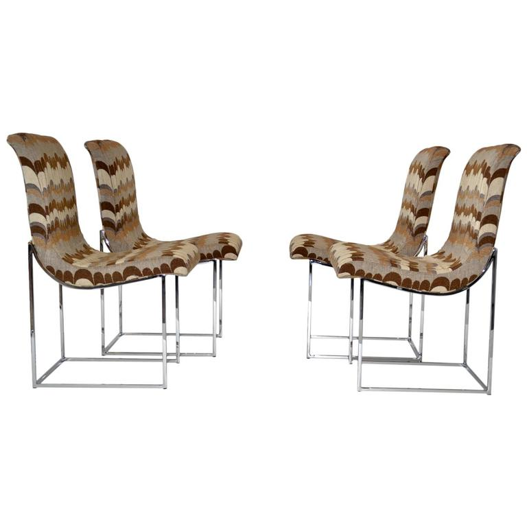 Set of Four Chrome Scoop Dining Chairs by Milo Baughman 1