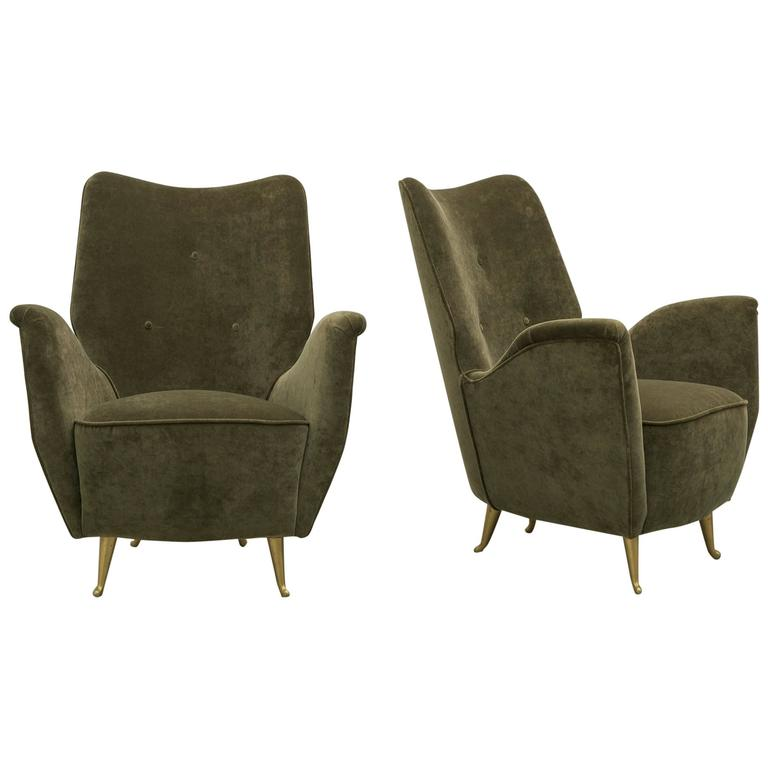 Pair of italian modern salon armchairs by arredamenti isa for Modern salon chairs for sale