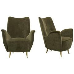 Vintage Pair of Italian Modern Salon Armchairs by Arredamenti ISA, 1940s