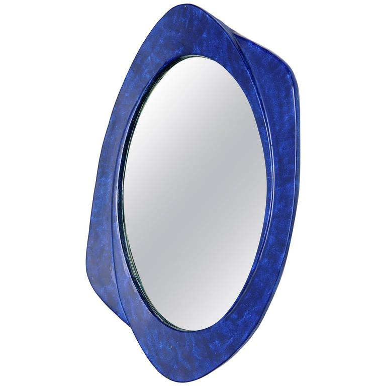Italian Glazed Ceramic Wall Mirror, 1970s