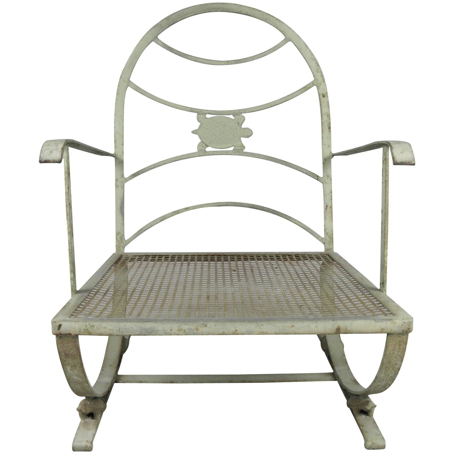 Vintage wrought iron turtle lounge chair at 1stdibs - Vintage wrought iron chairs ...