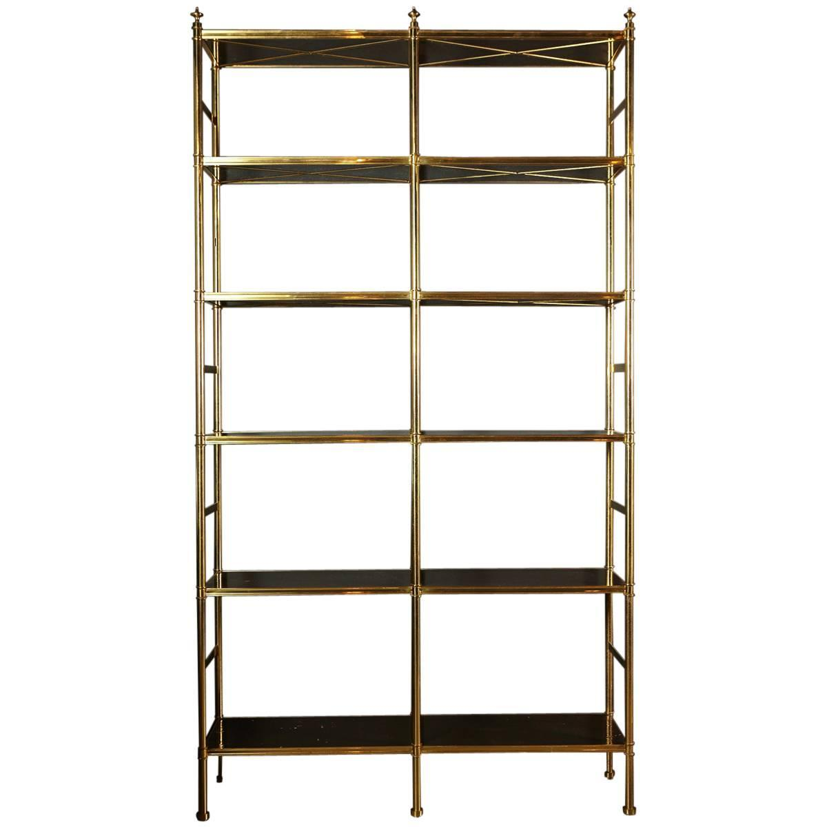 Original Billy Baldwin Tubular Brass Bookshelf With 12