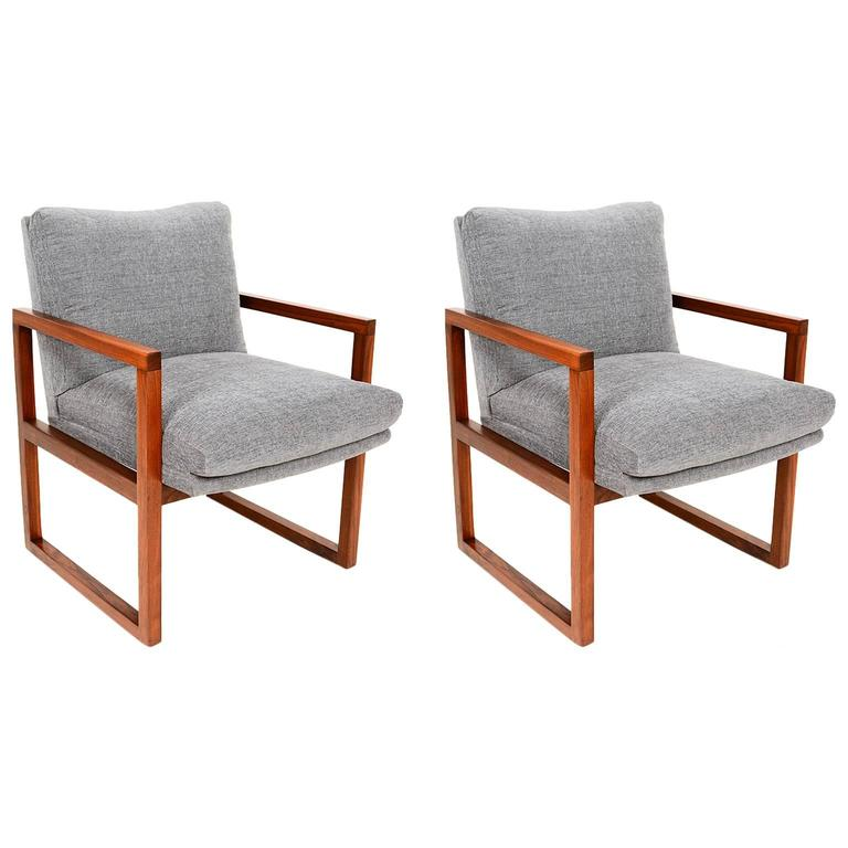 Pair of mid century modern walnut armchairs for sale at for Mid century modern armchairs