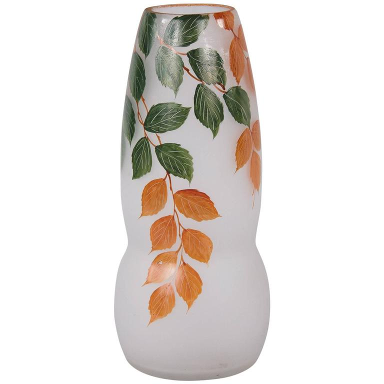 French Frosted Glass Vase, 1900s For Sale