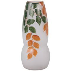 French Frosted Glass Vase, 1900s