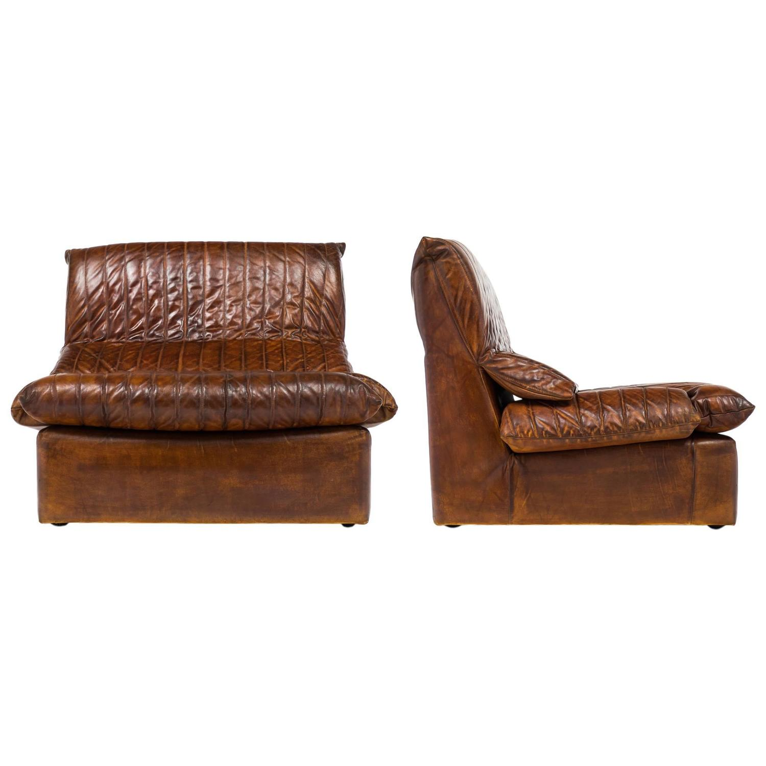 vintage pair of roche bobois leather armchairs at 1stdibs. Black Bedroom Furniture Sets. Home Design Ideas