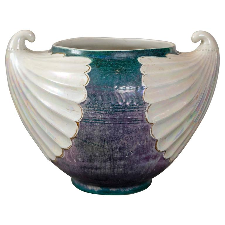 Large Art Nouveau Ceramic Glazed Pot by Christopher Dressner