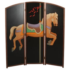 Beautiful Hand-Painted Folding Screen with Carousel Horse by Lynn Curlee