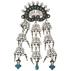 Art Nouveau Brooch in Sterling Silver and Enamel by Marius Hammer
