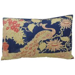 Printed Indian Peacock Bolster Pillow