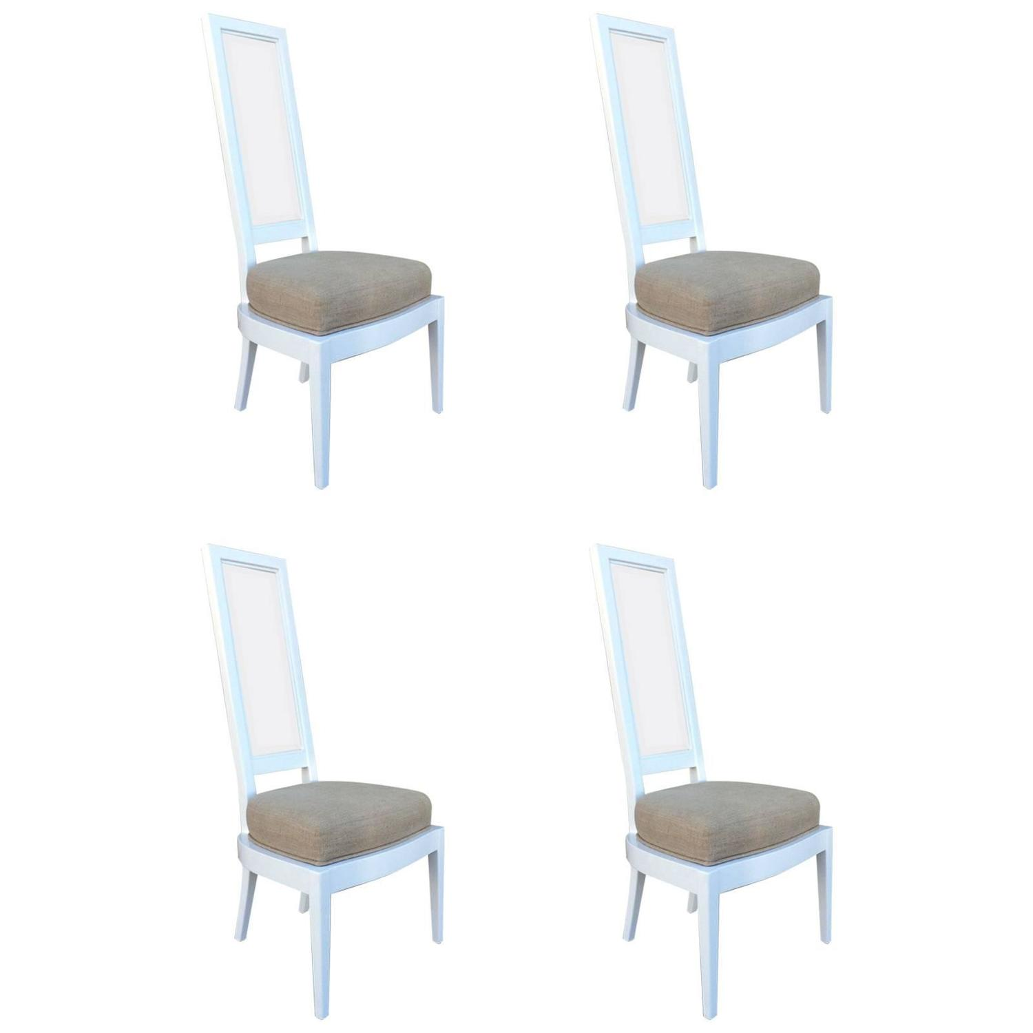 Set Of Four 1970s White Lacquer And Lucite Dining Chairs For Sale At 1stdibs