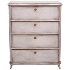 Painted North German Biedermeier Tall Chest of Drawers, circa 1820
