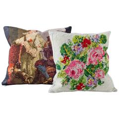 Reverse Needlepoint Pillows Dark and Light