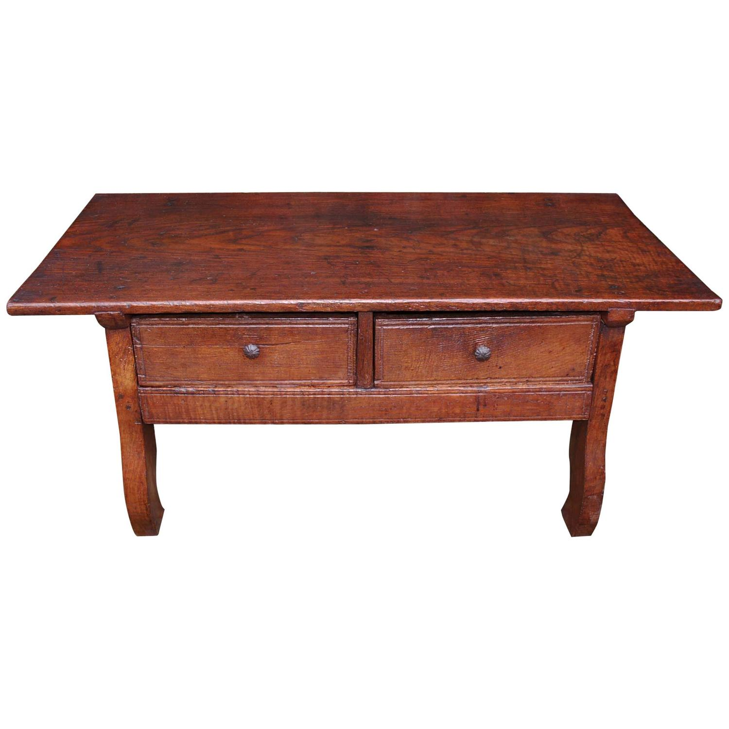19th century walnut wooden low table or coffee table made for Low coffee table wood