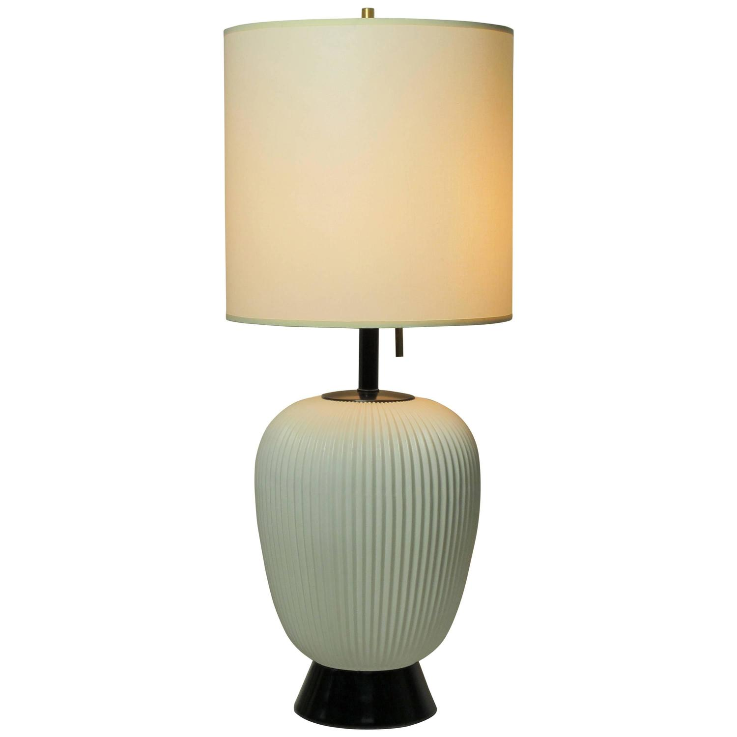 White Fluted Porcelain Table Lamp by Gerald Thurston at ...