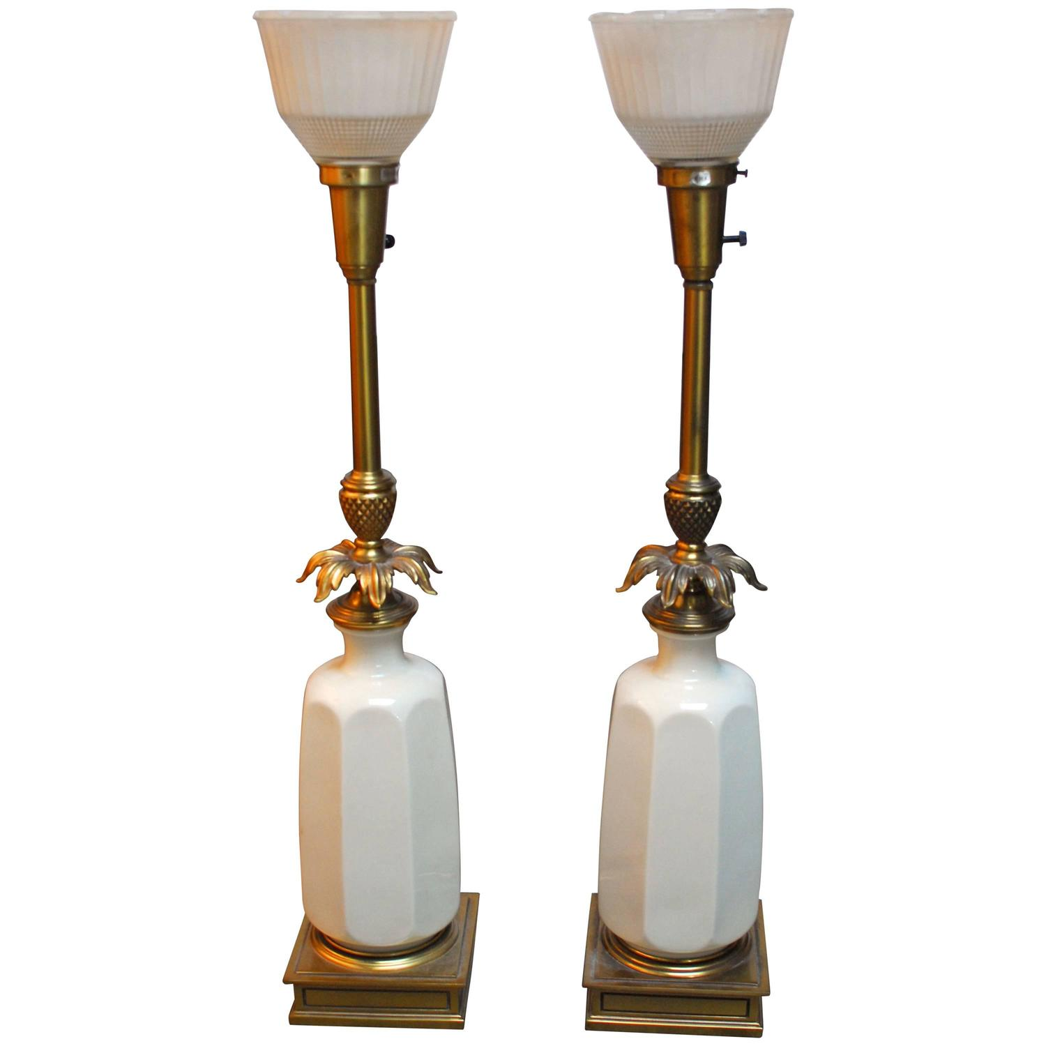Vintage stiffel brass table lamps - Hollywood Regency Lenox Porcelain And Brass Stiffel Lamps For Sale At 1stdibs