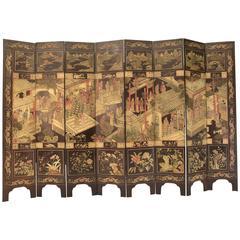 Fine Antique Chinese Carved Coromandel Screen, 19th Century