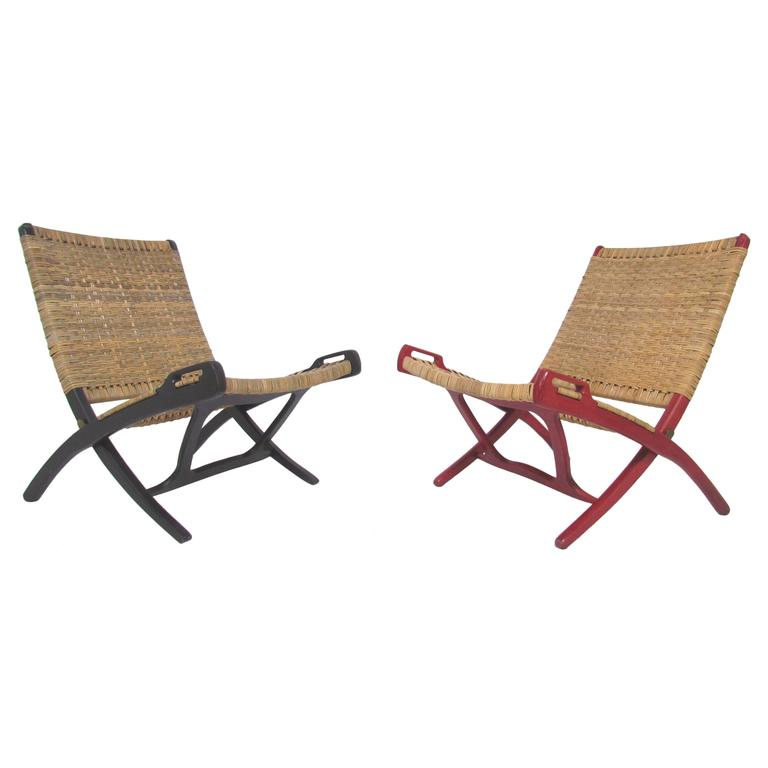 Pair of Mid Century Cane Folding Safari Chairs in the Manner of Hans Wegner a